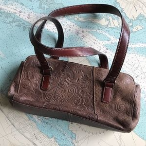 'Fossil' Genuine Leather Floral Tooled Purse